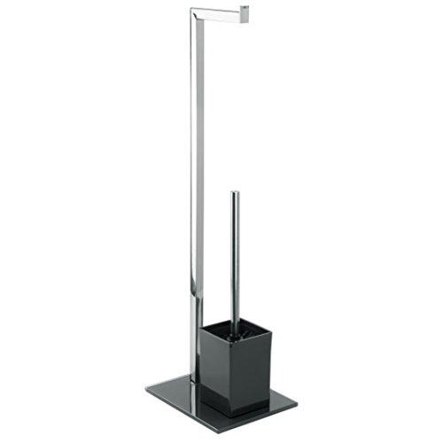 MSV Stand WC Garnitur aus Edelstahl und Glas mit herausnehmbaren Innenbehälter für die WC Bürste Schwarz