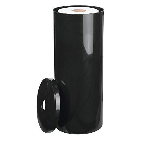 mDesign 2er-Set Toilettenpapierhalter stehend – eleganter Klopapierhalter mit Deckel für bis zu 3 Rollen – Toilettenrollenhalter aus Kunststoff – ideal für kleine Räume – schwarz