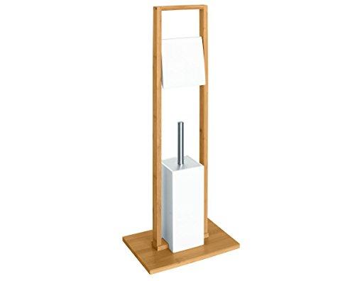 Sanwood 9313026 Kombi-Bürstengarnitur Bambus, platzsparend, Rollenhalter mit Deckel aus MDF,  WC-Bürste mit  Edelstahl-Stiel, braun