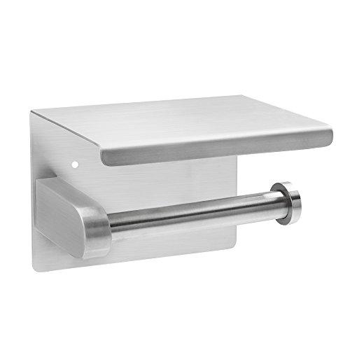 Selbstklebend Toilettenpapierhalter Toilettenpapierrollenhalter Papierhalter SUS 304 Edelstahl für Badezimmer(Toilettenpapierhalter mit Ablage zwei Montagemethoden)