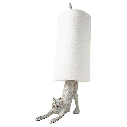 """Comfify Yoga Katze -Dekorativer Papierrollenhalter oder Toilettenpapierhalter - Bezaubernde""""Herabschauender Hund"""" Pose - Gusseisener Papierrollenständer - Antik wirkender Gusseisenständer"""