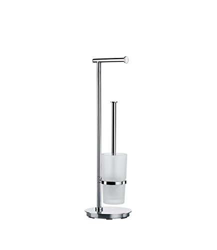 """Smedbo """"Outline Lite WC-Rollenhalter und Bürste Runde der Edelstahl poliert/mattiertes Glas, Silber/Weiß"""