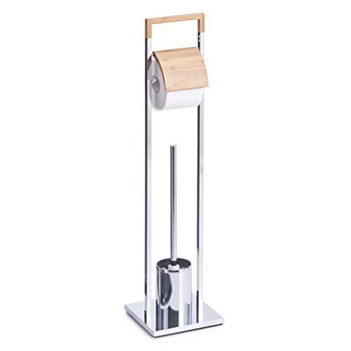 Zeller 18601 WC-Garnitur, Bamboo/Metall verchromt, ca. 18,5 x 18,5 x 75 cm