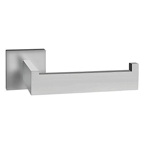 ECENCE Toilettenpapierhalter eckig Edelstahl SUS-304 matt gebürstet rostfrei Design Halter WC-Rollenhalter + Montagematerial (Bohren) 32040107