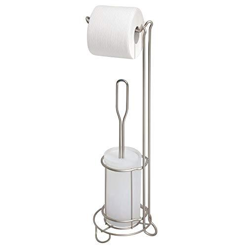 MetroDecor mDesign Toilettenpapierhalter mit Toilettenbürste ohne Bohren – freistehender Klorollenständer mit integrierter Klobürste – 2-in-1 WC Garnitur stehend – silberfarben
