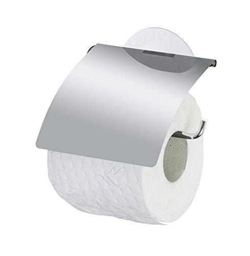WENKO 22208100 Static-Loc Toilettenpapierhalter mit Deckel Osimo - Befestigen ohne bohren, Stahl, 13.5 x 14 x 3 cm, Chrom