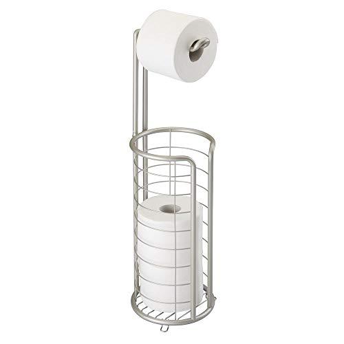 mDesign Toilettenpapierhalter stehend - moderner Papierrollenhalter fürs Badezimmer - rostfreier Klopapierhalter mit Stil - mattsilber