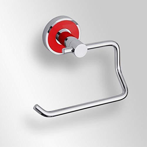 Papierrollenhalter ohne Deckel Messing verchromt silber mit rotem Ring 13,5 x 6,5 x 10 cm Badartikel Bad Zubehör Badezimmer