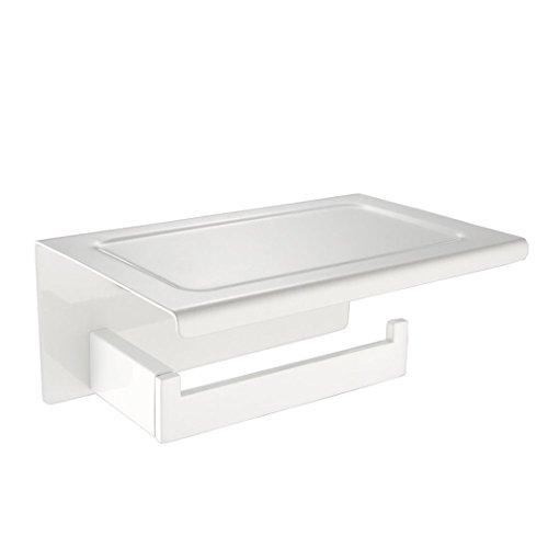 CASEWIND Weiß Edelstahl Toilettenpapierhalter Klorollenhalter mit Ablage für WC Badezimmer Dusche Küche Wandmontag