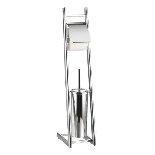 Axentia Bad 282253 WC-Garnitur Alena, verchromt, mit WC-Papierrollenhalter und geschlossenem Bürstenhalter mit Metallstiel, Ovalrohr, 74 cm hoch