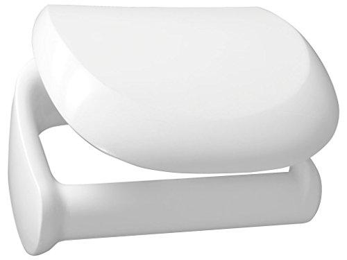 Bisk Athena Kunststoff Toilettenpapierhalter mit Abdeckung 14,5x 9x 12cm, weiß