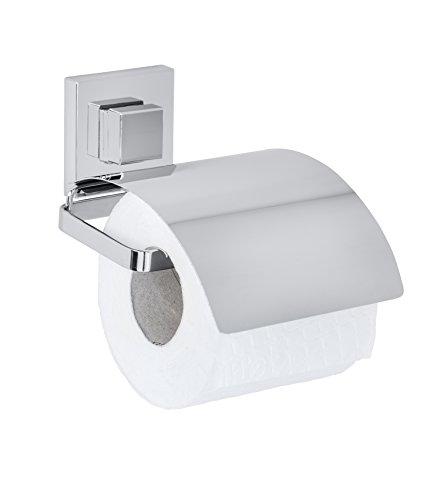 Wenko 22696100 Vacuum-Loc Toilettenpapierhalter Cover Quadro WC-Rollenhalter, Edelstahl rostfrei, glänzend, 14 x 13 x 11, 5 cm