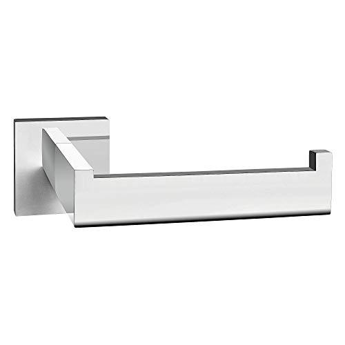 ECENCE Toilettenpapierhalter eckig Edelstahl SUS-304 poliert glänzend verchromt rostfrei Design Halter WC-Rollenhalter + Montagematerial (Bohren) 14020209