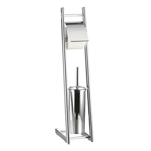 Toilettenpapierhalter freistehend mit Klobürste - WC Garnitur silber verchromt ca. 74 cm hoch - Toilettenbürste + Halter mit Papierrollenhalter