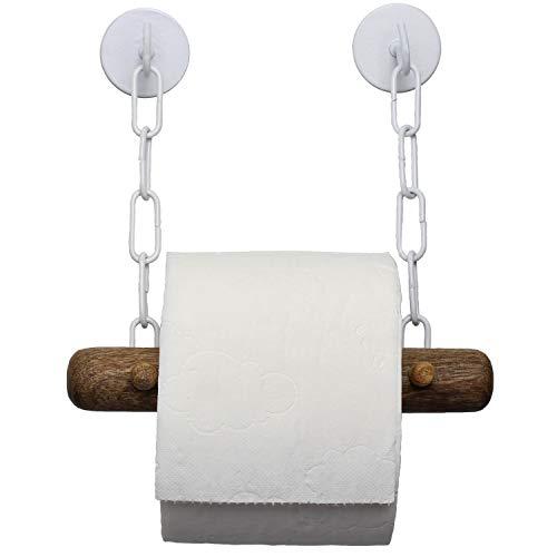 Toilettenpapierhalter ohne Bohren | edles Mango Holz | schwarz/weiß | DEKAZIA (weiß)