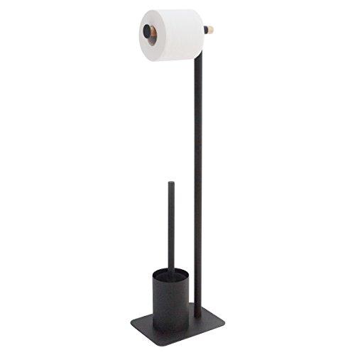 Sealskin Stand WC-Garnitur Brix, WC-Butler aus Metall und Holz, Farbe: Schwarz, 20 x 15 x 71,5 cm