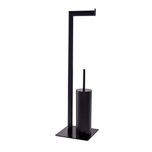 Esbada Toilettenpapierhalter/WC-Bürstenkombination/Klopapierhalter, Eckig, schwarz, 20x72x20 cm