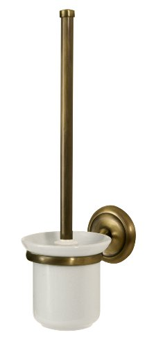 Bisk 00412 Deco Toilettenbürstengarnitur mit Bürstenhalter antik gebürstet, 12 x 16 x 40 cm