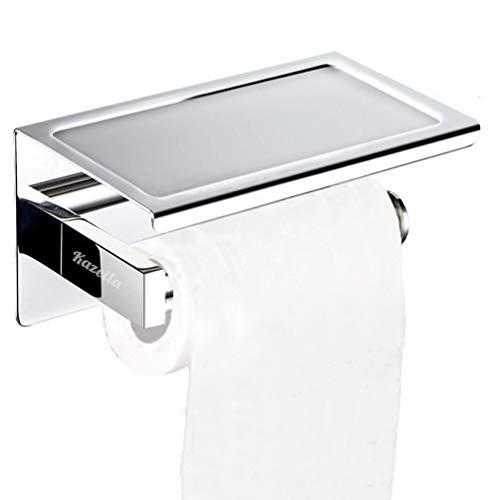 Kazeila Toilettenpapierhalter SUS304 Edelstahl rostsicheres Badezimmer Toilettenpapier Rollenhalter mit mobiler Telefon Aufbewahrungsfläche Wand Montage, Bohren und Selbstklebend – Poliertes Finish