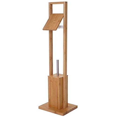 Mendler WC-Papierhalter HWC-B18, Klopapierhalter Toilettenrollenhalter Toilettenbürste, Bambus
