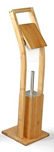 MSV WC Garnitur aus Bambus Toilettenpapierhalter aus Holz mit separatem Kunststoffbehälter Standgarnitur mit Toilettenbürste und Klorollenhalter