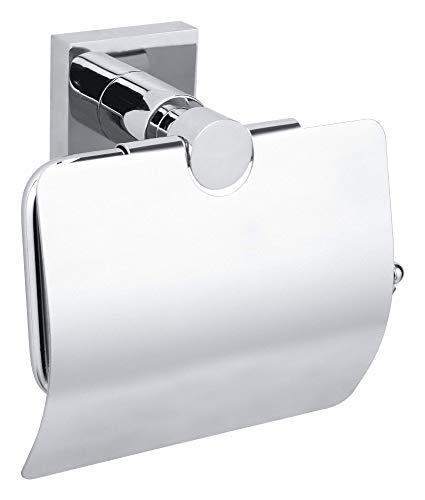 Tesa hukk Toilettenpapierhalter (mit Deckel, verchromt, Montage ohne Bohren, hohe Haltekraft (bis 6kg), 130mm x 140mm x 70mm)