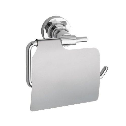 Nie Wieder Bohren luup Toilettenpapierhalter, mit Deckel, verchromt, inkl. Klebelösung, garantiert rostfrei, 135mm x 140mm x 75mm