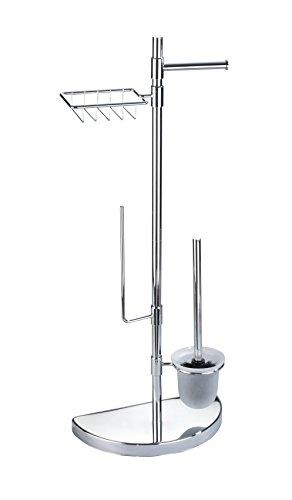 Wenko Raumspar Center WC-Garnitur mit Ersatzrollen-und Feuchttücher-Halter, verchromtes Metall, Silber glänzend, 18 x 34 x 84,5 cm