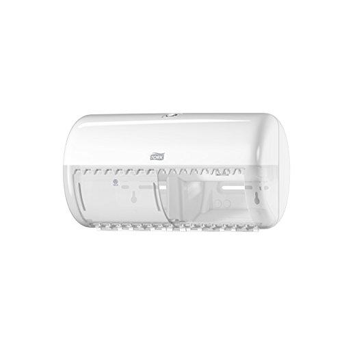 Tork 557000 Spender für Kleinrollen Toilettenpapier T4 in Weiß/Hygienischer Papierspender für Toiletten im Elevation Design