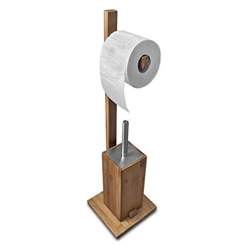SANWOOD Kombi Bambus, Edelstahl-Natur-Mit Rollenhalter WC-Bürstengarnitur mit Papierrollenhalter, braun, 19 x 71 x 19 cm