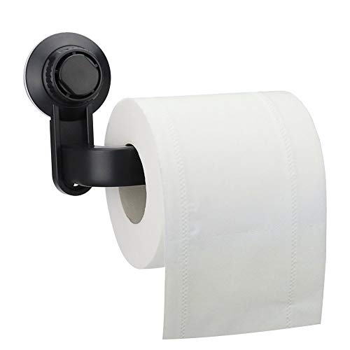 Toilet Paper Holder Suction Cup, Telgoner Toilet Paper Holder Roll Holder Vacuum Without Drilling For Bathroom Toilet Paper Holder, black