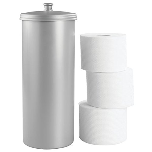 mDesign großer Toilettenpapierbehälter mit Deckel - Toilettenpapieraufbewahrung aus Kunststoff (Durchmesser: 16cm) stehend - Toilettenpapier Box auch für große Rollen - grau