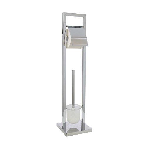 Ribelli WC Garnitur mit WC Ständer und WC Bürste verchromt mit Papierrollenhalter ca. 75 cm Hoch - Toilettenpapierhalter mit Klobürste aus verchromten Edelstahl