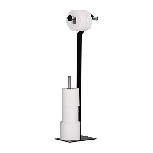 Relaxdays WC-Papierhalter stehend, Toilettenpapierhalter mit Reserverollenhalter, HxBxT: 72x23x13,5 cm, schwarz/chrom