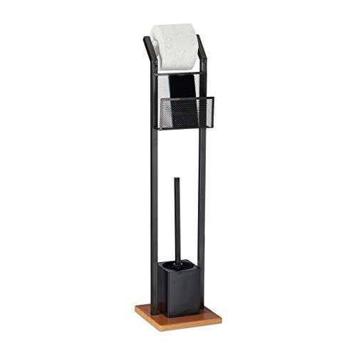 Relaxdays WC-Garnitur mit Ablage, Papierhalter, WC-Bürste, Bürstenhalter, quadratischer Fuß, Holzoptik, H 78 cm, schwarz