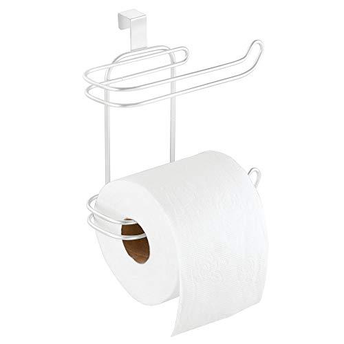 MetroDecor mDesign Toilettenpapierhalter ohne Bohren – Klorollenhalter fürs Badezimmer, praktisch zum Aufhängen – cleverer Papierrollenhalter – weiß