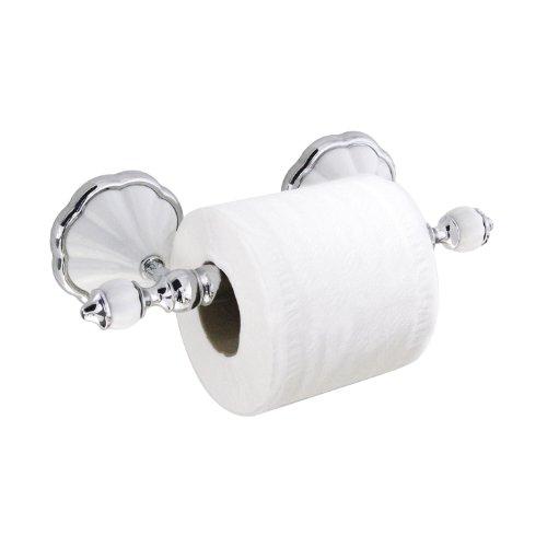 modona Toilettenpapier-Halter mit Edelstahl-Roller – weiß Porzellan & Chrom poliert – Flora Serie – 5 Jahr Vorteil
