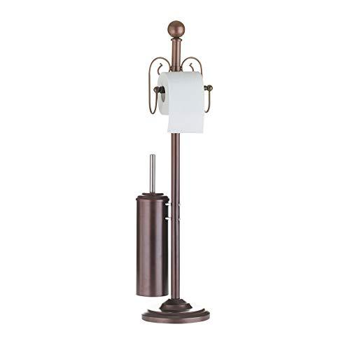 Ribelli Toilettenpapierhalter mit Klobürste WC Garnitur rostfarben - Toilettenbürste mit Standfuß Ø ca. 19 cm und Klopapierhalter im Nostalgie Design