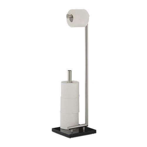 Relaxdays Toilettenpapierhalter PIERRE, Klorollenhalter, Klopapierhalter freistehend, Marmor, HxBxT: ca. 74 x 20 x 20 cm