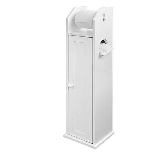 SoBuy® FRG135-W Freistehend weiß Toilettenrollenhalter, Badregal, Standschrank, Seitenschrank