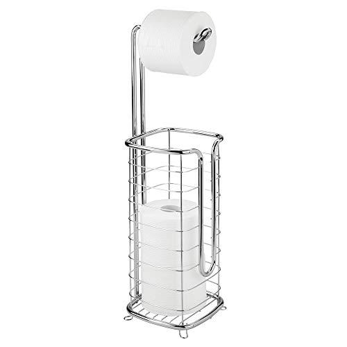 mDesign Toilettenpapierhalter ohne Bohren – Klorollenhalter fürs Badezimmer – Papierrollenhalter für vier Rollen – silberfarben
