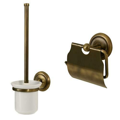 Bisk 00412 Deco Toilettenbürstengarnitur mit Bürstenhalter antik gebürstet, 12 x 16 x 40 cm &  00403 Deco Toilettenpapierhalter mit Abdeckung, Messing-Antik-Optik, 11,5x8,5x13,5cm