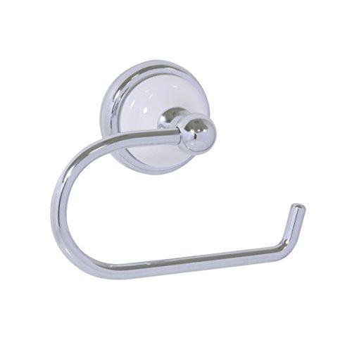 """axentia Toilettenpapierhalter """"Lyon Premium"""", Badausstattung, WC-Rollenhalter aus Edelstahl, schwenkbares Badaccessoire aus Keramik, ca. 16 x 8 x 11 cm, silber"""