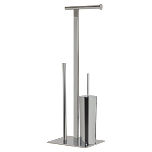 Sealskin Stand WC-Garnitur und Toilettenpapierhalter Square, WC-Butler aus Metall, Farbe: Chrom