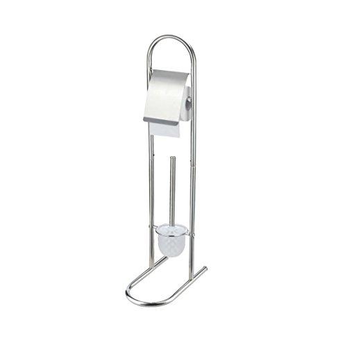 WC Garnitur mit WC Ständer und WC Bürste verchromt mit Papierrollenhalter -Toilettenpapierhalter mit Klobürste aus verchromten Eisen, ca. 79 cm hoch