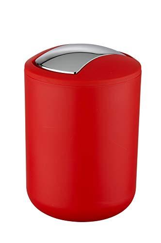 WENKO Schwingdeckeleimer Brasil S Rot, 2 Liter Mülleimer mit Schwingdeckel