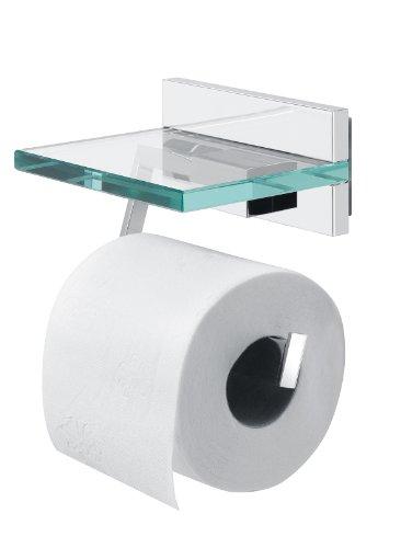 Tiger Safira Toilettenpapierhalter mit praktischer Glas-Ablage, chrom