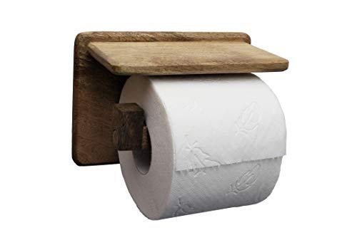 Toilettenpapierhalter ohne Bohren | handgemacht | mit Ablage | edles Mango Holz | Dekazia