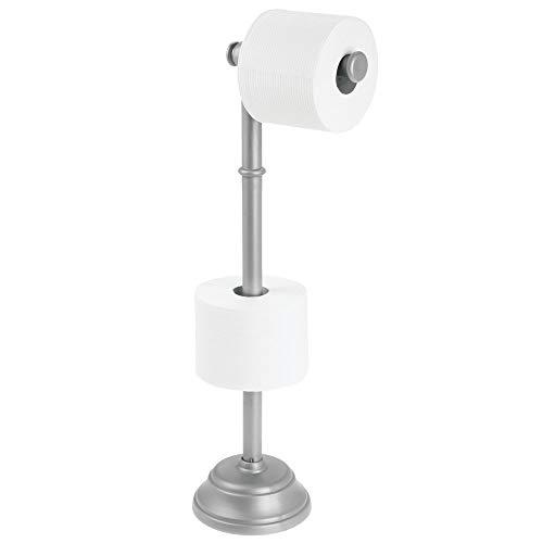 MetroDecor mDesign Toilettenpapierhalter für DREI WC-Rollen – Zeitloser Papierrollenhalter für Bad und WC – Klopapierhalter auch für größere Rollen – silberfarben