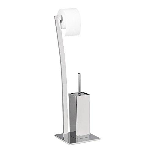 Relaxdays Stand WC Garnitur WIMEDO eckig HBT: 71 x 20 x 20 cm Toilettenbürstenhalter aus Edelstahl mit Lackierung Toilettenpapierhalter und Klorollenhalter als freistehende WC Bürstengarnitur, silber